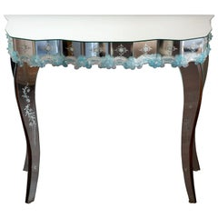 Contemporary Murano Mirrored Console Table with Blue Hand Blown Flowers
