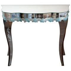 Contemporary Murano Mirrored Console Table with Hand Blown Flowers