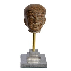 Contemporary Museum Copy Porphyry Head on Stepped Cut Steel Base