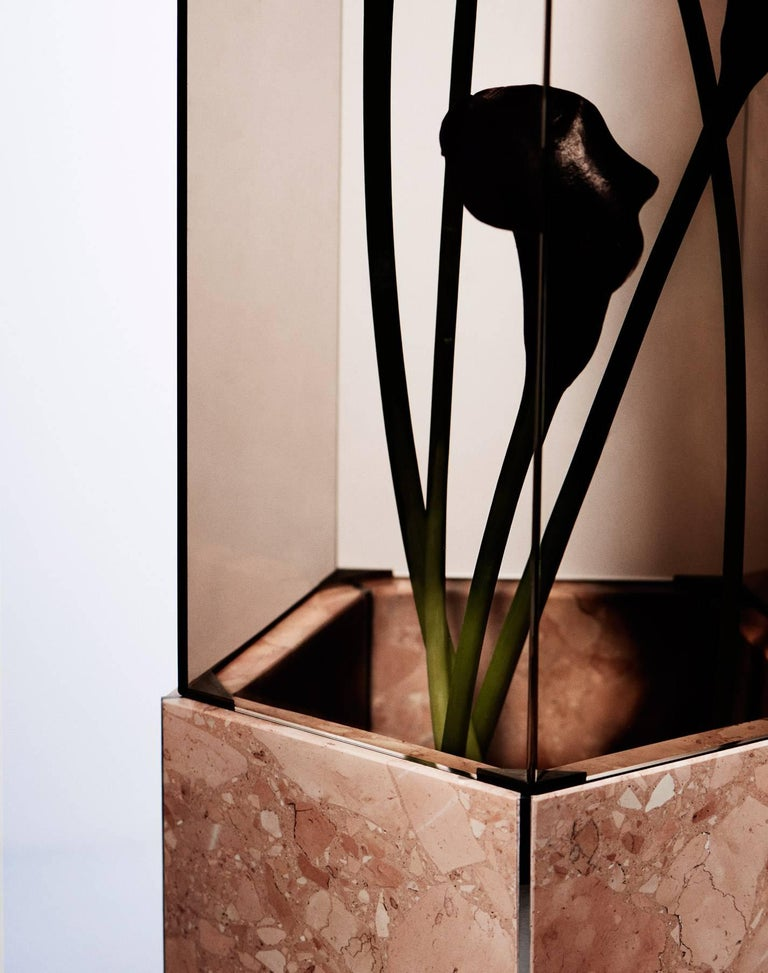 Modern Contemporary Narcissus Pentagon Vase Pink Rosa Perlino Terrazzo and Smoked Glass For Sale