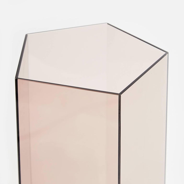 British Contemporary Narcissus Pentagon Vase Pink Rosa Perlino Terrazzo and Smoked Glass For Sale