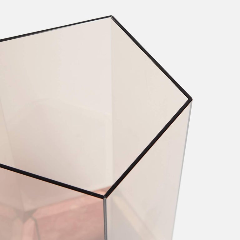 Carved Contemporary Narcissus Pentagon Vase Pink Rosa Perlino Terrazzo and Smoked Glass For Sale
