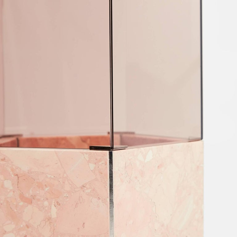 Stainless Steel Contemporary Narcissus Pentagon Vase Pink Rosa Perlino Terrazzo and Smoked Glass For Sale