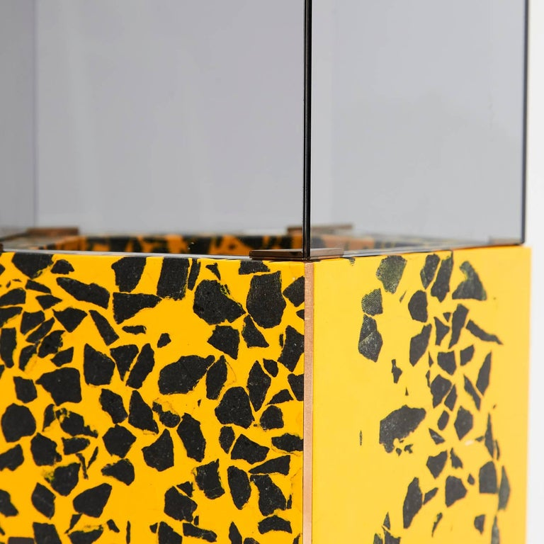 Modern Contemporary Narcissus Pentagon Vase Yellow and Black Terrazzo and Smoked Glass For Sale