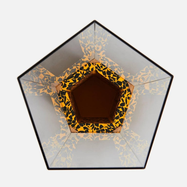 British Contemporary Narcissus Pentagon Vase Yellow and Black Terrazzo and Smoked Glass For Sale