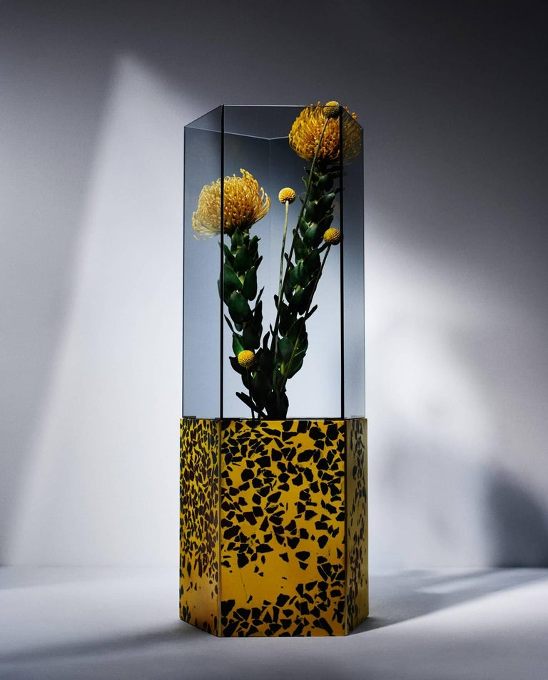 For Solace London's Spring Summer collection press preview in New York, Tino Seubert designed the set for the fashion brands presentation in a Chelsea gallery. The layout included three special edition Narcissus Vases in Yellow and Black Terrazzo,
