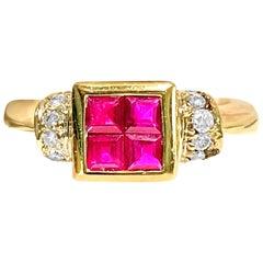 Contemporary Natural 0.92 Carat Ruby Diamond Cocktail Ring 18 Karat Yellow Gold