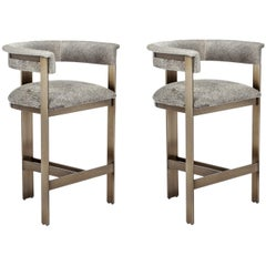 Contemporary Natural Hide Counter Stools in Bronze Frame