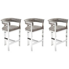 Contemporary Natural Hide Counter Stools in Polished Nickel