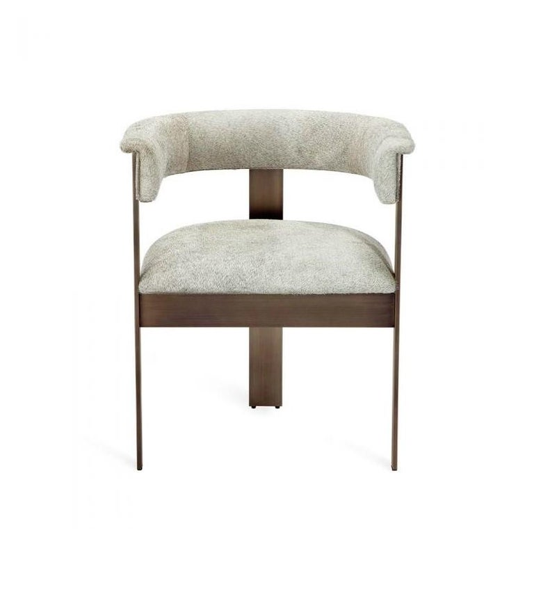 Modern Contemporary Natural Hide Dining Chairs in Bronze Frame For Sale