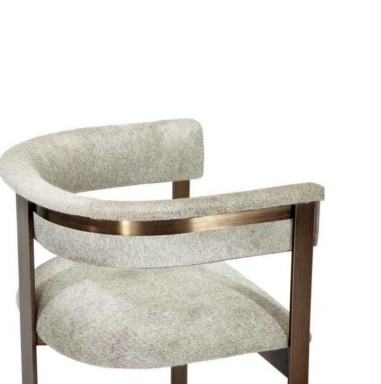 Contemporary Natural Hide Dining Chairs in Bronze Frame In New Condition For Sale In New York, NY