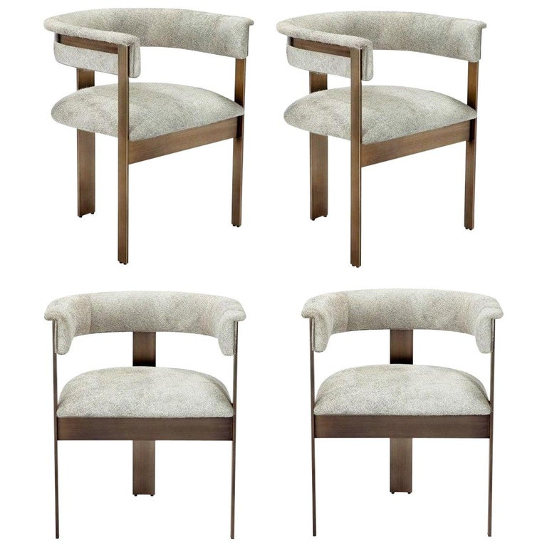 Contemporary Natural Hide Dining Chairs in Bronze Frame For Sale
