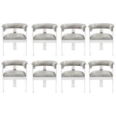 Contemporary Natural Hide Dining Chairs in Polished NIckel / 8 Chairs