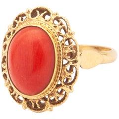 14 Karat Yellow Gold Filigree Red Coral Cabochon Ring