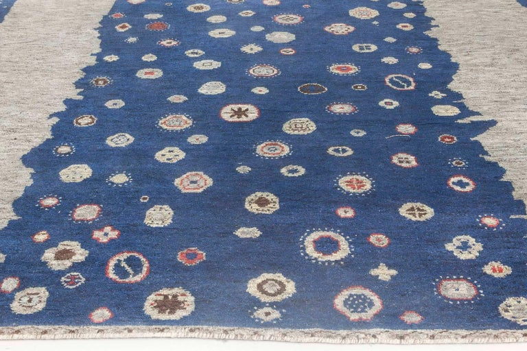 Hand-Knotted Contemporary Navy Blue and Gray Flen Swedish Inspired Wool Pile Rug For Sale