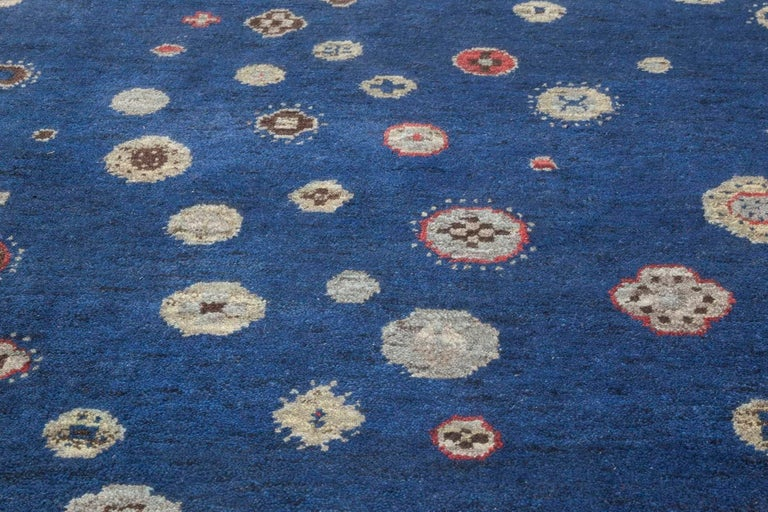 Contemporary Navy Blue and Gray Flen Swedish Inspired Wool Pile Rug In New Condition For Sale In New York, NY