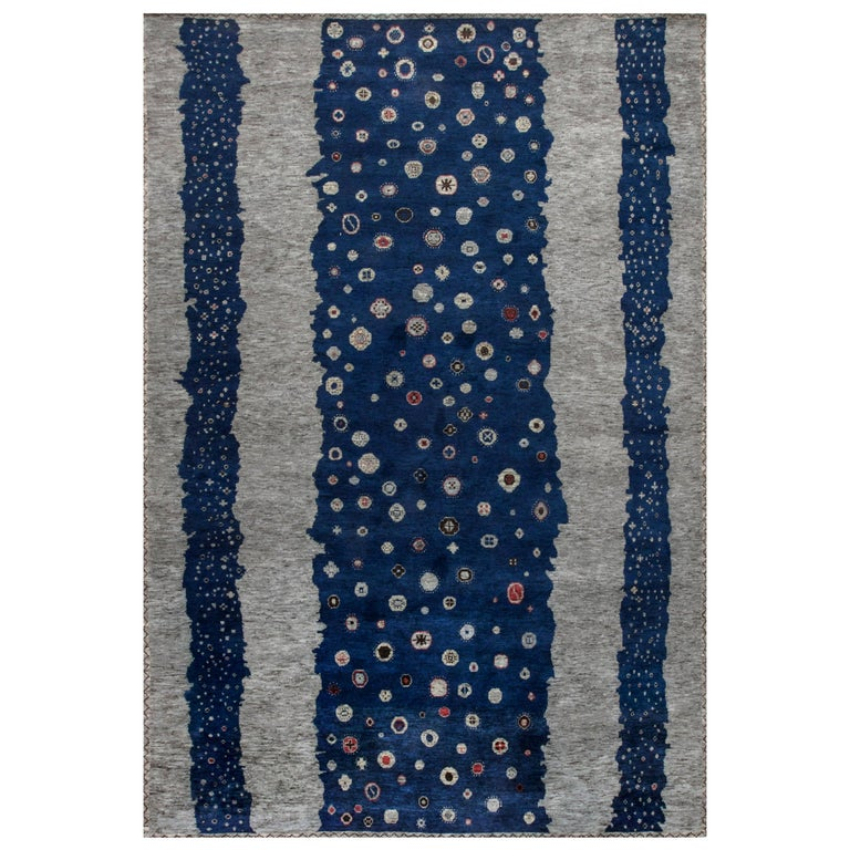 Contemporary Navy Blue and Gray Flen Swedish Inspired Wool Pile Rug For Sale