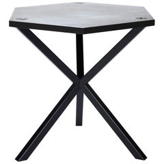 Contemporary Neb Hexagonal Side Table with Metal Top and Legs by Per Soderberg