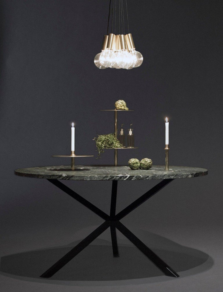 Scandinavian Modern Contemporary Neb Round Dining Table, Stone Top and Metal Legs by Per Soderberg For Sale