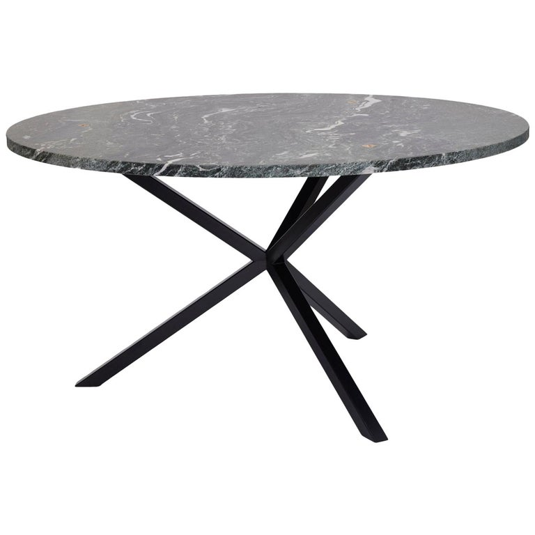 Contemporary Neb Round Dining Table Stone Top And Metal Legs By Per Soderberg