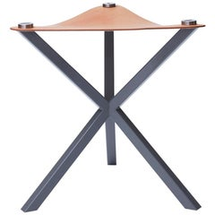 Contemporary Neb Stool with Leather Seat and Metal Legs by Per Soderberg