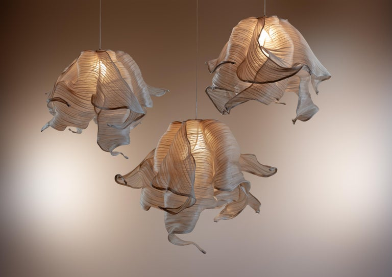 Italian Contemporary Nebula Fabric and Wire LED Pendant Light from Studio Mirei For Sale