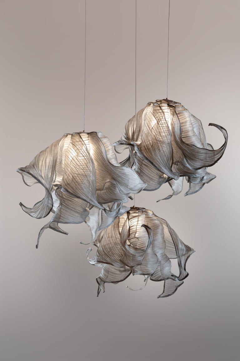 Contemporary Nebula Fabric and Wire LED Pendant Light from Studio Mirei In New Condition For Sale In New York, NY