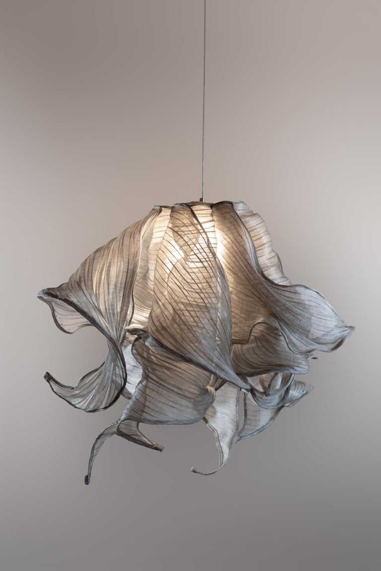 Natural Fiber Contemporary Nebula Fabric and Wire LED Pendant Light from Studio Mirei For Sale