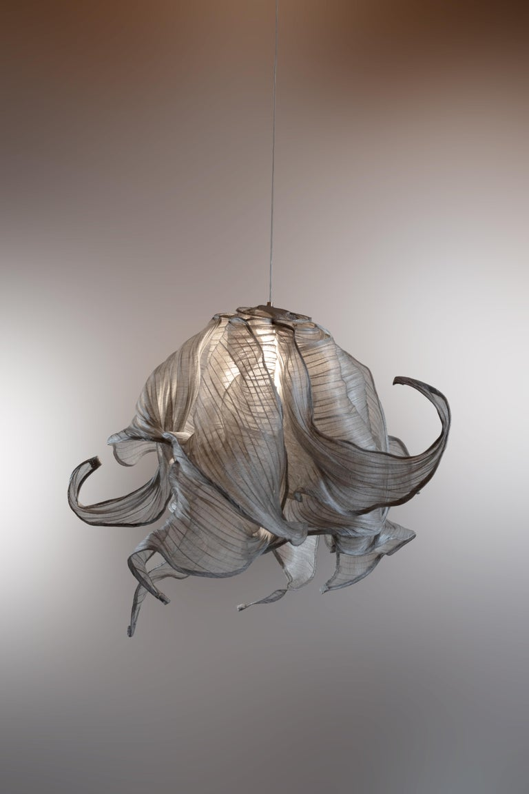 Contemporary Nebula Fabric and Wire LED Pendant Light from Studio Mirei For Sale 1
