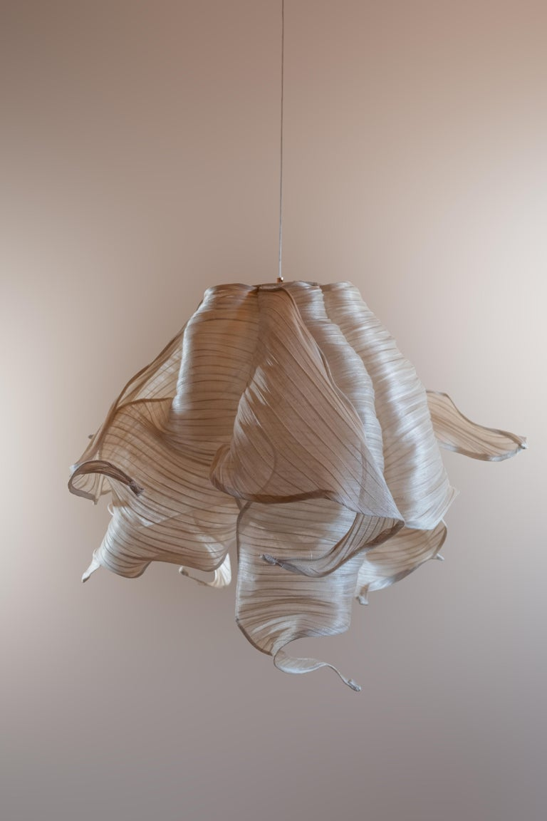 Contemporary Nebula Fabric and Wire LED Pendant Light from Studio Mirei For Sale 2