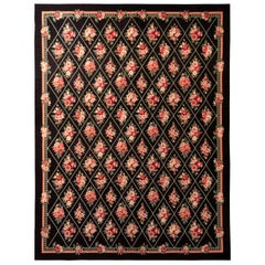 Contemporary Needlepoint Flat-Weave Wool Black Pink and Green Floral Kilim Rug