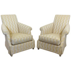 Contemporary Neoclassical Pair of Club Lounge Accent Armchairs by Donghia