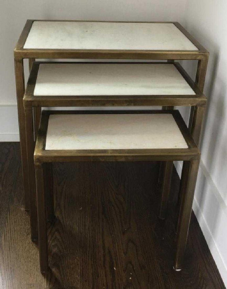 Italian Contemporary Nesting Tables with Marble Tops For Sale