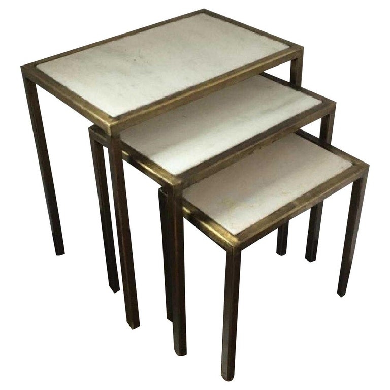 Contemporary Nesting Tables with Marble Tops For Sale