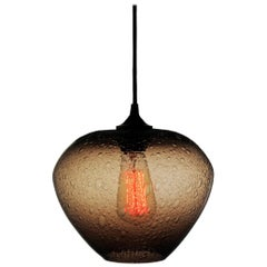 Contemporary Neutral brown Hand Blown Pendant Lamp in Rustic Finish