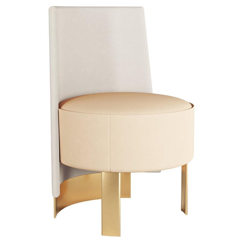 Contemporary Neutral Colors Velvet Dining Chair with Gold Stainless Steel Legs