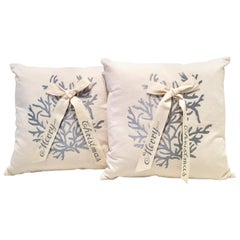 "Contemporary & New Pair of ""Merry Christmas"" Down Filled Decorative Pillows"