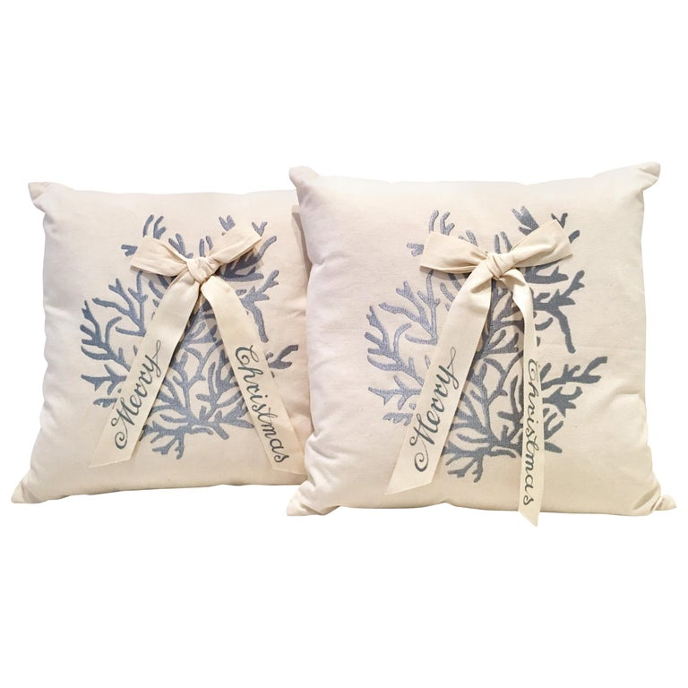 """Contemporary & New Pair of """"Merry Christmas"""" Down Filled Decorative Pillows ..."""