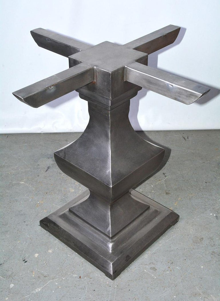 Neoclassical Contemporary Nickel-Plated Iron Pedestal Dining Table Base For Sale