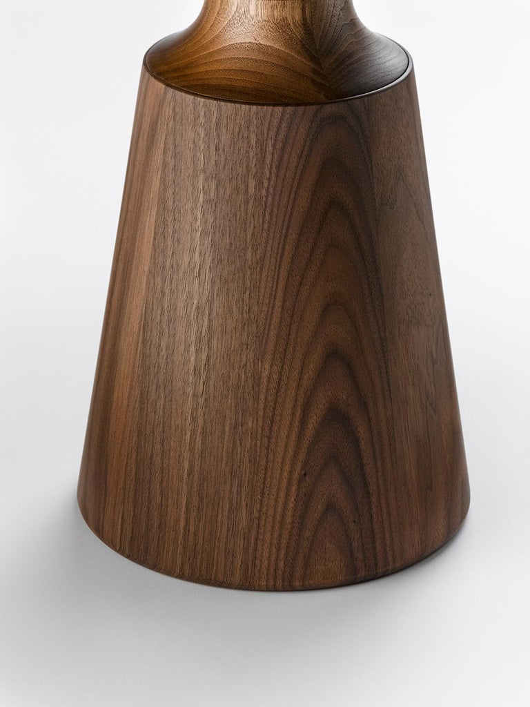 Contemporary Nicole Occasional Table in Oak or Walnut with Machined Metal Collar In New Condition For Sale In Trowbridge, Wiltshire