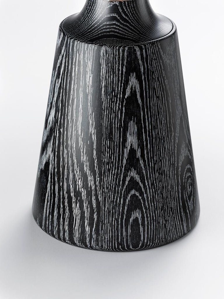 Contemporary Nicole Occasional Table in Oak or Walnut with Machined Metal Collar For Sale 2