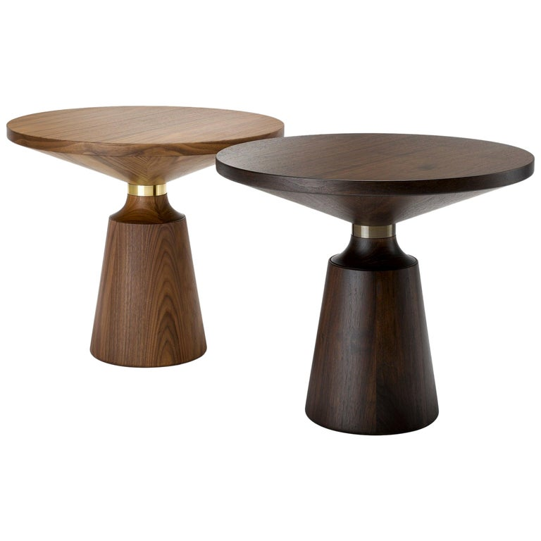 Contemporary Nicole Occasional Table in Walnut with Machined Metal Collar For Sale