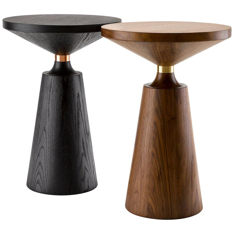 Contemporary Nicole Side Table in Walnut with Machined Metal Collar For Sale
