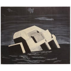 Contemporary Night Painting of Beach Bunker Ruin by Lionel Lamy