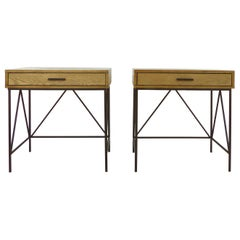 Contemporary Nightstand Side Tables with Iron Bases, Pair