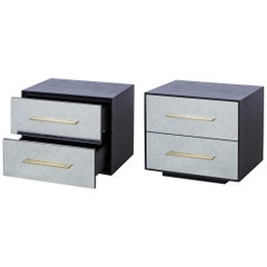 Contemporary Nightstands in Silver Églomisé Glass Front