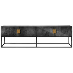 Contemporary Norse Console Table or Sideboard in Black Ash, Brass