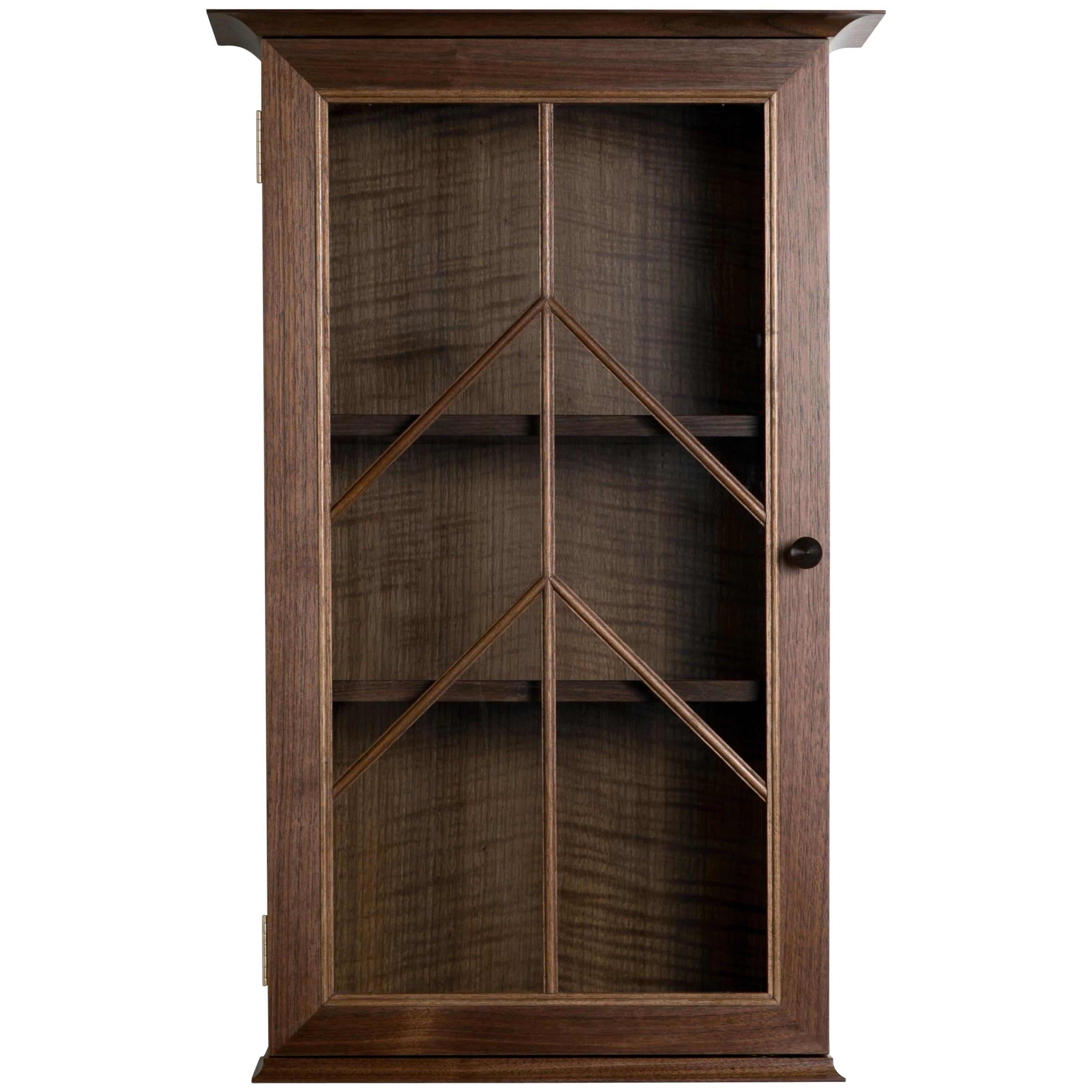 Contemporary North End Wall Cabinet In Walnut, Curly Oak With Barred Glass  Door For Sale