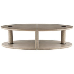 Contemporary Oak Coffee Table in Bronze Detailing