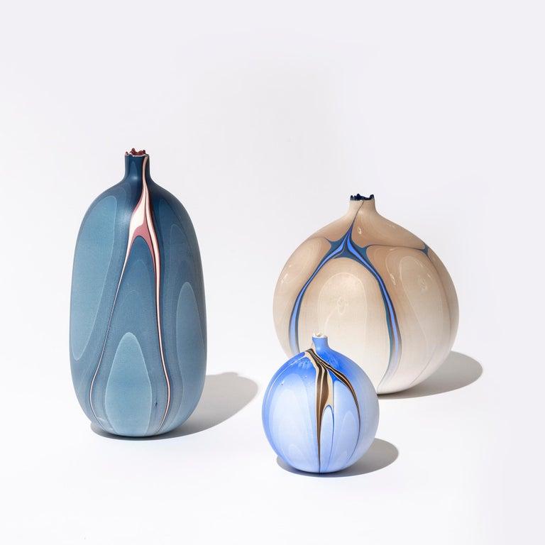 Cast Contemporary Oblong Marbled Mississippi Vase in Blue by Elyse Graham For Sale